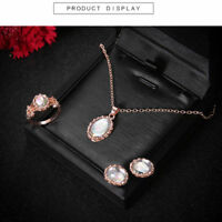 Rose Gold Crystal Necklace Ring Earring Jewelry Sets Fashion Lady Women Gift