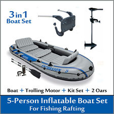 5-Person Inflatable Boat With Trolling Motor Mount Kit Set For Fishing Rafting