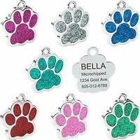 Stainless Steel Glitter Pet ID Tags - Designers Glitter Paw