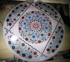 """36"""" White Dining Room Marble Table Top Mosaic Inlay Restaurant New Year  H3260"""