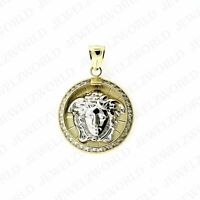 Real 10K White Yellow Gold Two Tone Medusa Head Charm Pendant Small CZ Medallion