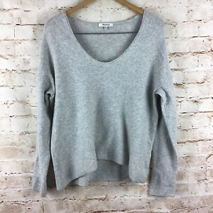Madewell Gray Wool Blend Knit V-Neck Long Sleeve Sweater Size XL