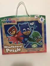 NEW PJMASKS 9 Piece Woodboard puzzle In Box/ Carrying Case with Handle