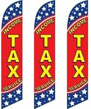Three (3) Pack Full Sleeve Swooper Flags INCOME TAX SERVICE Red Yellow Blue