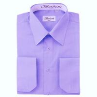 Berlioni Italy Men's Convertible Cuff Solid Italian French Dress Shirt Lavender