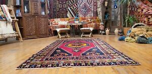 Beautiful Henna Dyes, 4'2''x8'2'' Wool Pile Tribal Dowry Rug