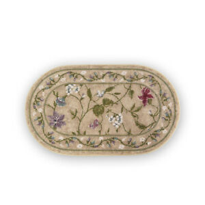Oval Floral Butterfly Accent Rug