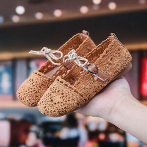 Toddler Infant Kids Baby Girls Lace Bowknot Flower Single Princess Shoes Sandal