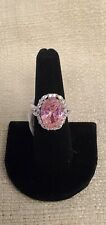 Pink And White Cubic Zirconia Rhodium Over Sterling Silver Ring 17.80ctw SZ 8 NW