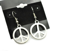 Large Peace Earrings Antiqued Silver Plated With Hypoallergenic Ear Wires
