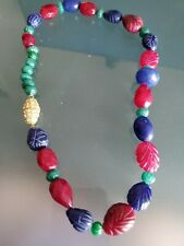 "Necklace Magnetic Brooch Clasp 22"" Real Emerald Ruby Sapphire Carved Beads"