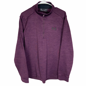 Under Armour 1/4 Zip Pullover Jacket Men's Large Purple Plum Loose Cold Gear