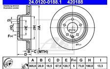 ATE Juego de 2 discos freno 305mm ventilado para JAGUAR XJ XK 24.0120-0188.1
