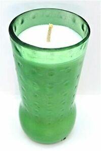White Gardenia Green Glass Handmade Soy Wax Candle, 7 oz