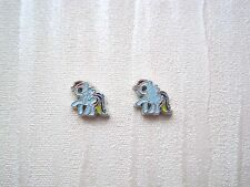 PRETTY BLUE MY LITTLE PONY Tiny 8mm ADULTS Stud Earrings Rainbow Tail Horse