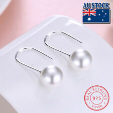 925 Sterling Silver Classic Shell Pearl Hook Everyday Wear Earring