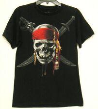 Disney Pirates of the Caribbean Adult Black T Shirt Sz Small Skull & Swords