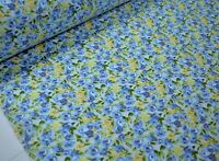 "Blue Yellow Floral Print Quilting Fabric Craft Apparel Upholstery 45""W #9965B"