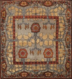 Floral Tufenkian Oriental Area Rug Hand-knotted Wool Classic Carpet 8'x8' Square