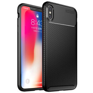 Case For iPhone 7 8 SE 2020 Xs Max Carbon Fibre Black TPU Soft Shockproof Cover