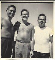 VTG B&W 1950s Snapshot Photo 3 Handsome Men 2 Shirtless on Beach Gay Interest