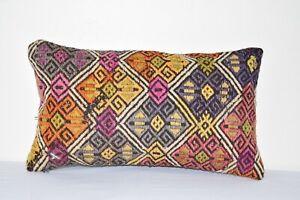 """Lumbar Cicim Kilim Cushion Cover, Tribal Couch Pillow, 12"""" X 20"""""""