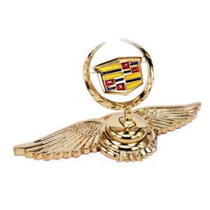 Gold Car Front Hood Stand Ornament Wing Logo Emblem for Cadillac CTS XTS XT4 XT5