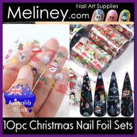 10pc Christmas Nail Art Transfer Foils set sticker snowman snowflake tree Xmas