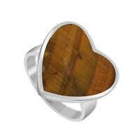 925 Sterling Silver Tiger eye Gemstone Heart Solitaire Ring Size 5 - 10