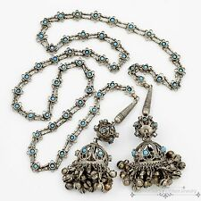 """Antique Vintage Deco Chinese Sterling Silver Plated Filigree 46"""" Bell Necklace!"""