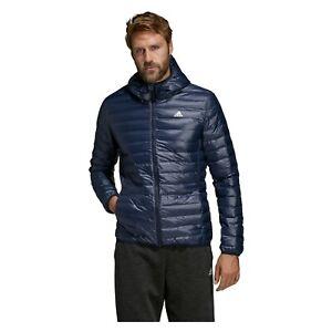 adidas Varilite Mens Down Hooded Coat Sports Jacket Black Blue Football Hiking