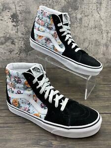 Vans SK8-HI Black Suede Floral Pattern Women's Sz 9 High Top Skate Shoes Men 7.5