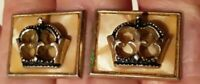 Vtg Swank? 3D Gold Tone Crown Cufflinks  w Mother of Pearl Unique