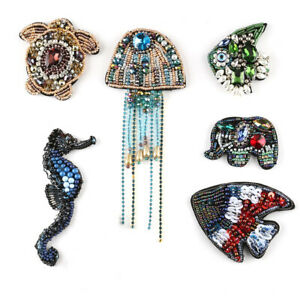 3D Handmade Rhinestone Crystal Beading Patches Sew on Sequin Patch Clothes Badge