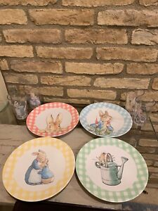Pottery Barn Kids Easter Beatrix Potter Gingham Plates Cups Set 8 Bunny Tumbler