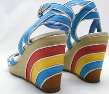 WOMENS FERRAGAMO BLUE RED YELLOW RAINBOW ANKLE STRAP WEDGE SHOES SZ 8.5~1/2 AA