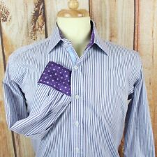 English Laundry Men's Flip Cuff Dress Shirt 15.5 34/35 L/S Blue Purple Striped