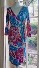 DIANE von FURSTENBERG 3/4 Sleeved Floral Silk Wrap Dress - UK 12 (US 8)