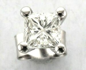 Single Platinum Single Stone Princess Diamond 4-Claw Set Solitaire Stud Earring