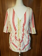 Next Red/White Stripe Linen Ruched Front Top - Size UK10