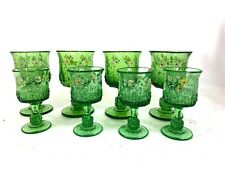 Vintage Green Glass Hand Painted Flower Goblets 8pc