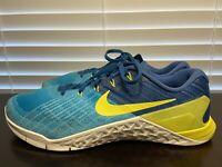 Nike Metcon 3 Mens Crossfit Training Shoes Blue Yellow 852928-401 Size 11.5