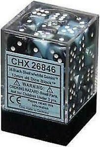 Dice Chessex Gemini: 12mm D6 Black Shell/White (36)