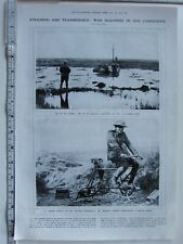 1918 WWI PRINT BRITISH STRANDED TANK TANDEN BICYCLE AS ELECTRICITY GENERATOR