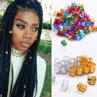 50pcs 8mm Dreadlock Beads Adjustable Colorful Hair Braid Rings Cuff Clips Tube