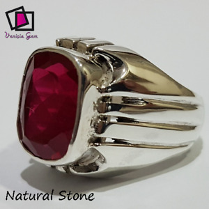 Blood RED Ruby Ring 925 Sterling Silver Men Agate Stone Natural Yemeni Handmade