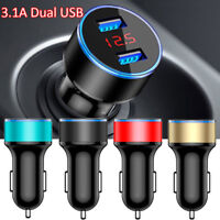 3.1A Car Charger Dual USB Port LCD Display Cigarette Socket Lighter Charger NO1
