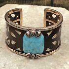 Barse Evangeline Cuff Bracelet- Turquoise, Copper & Leather- NWT