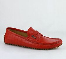 Gucci Red Crocodile Leather Driver Shoes w/Gucci Logo 7G / US 7.5 377755 6523