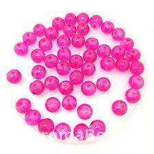 8mm vetro perline crackle-ROSA CALDO (Gioielli Making) 50 Perline